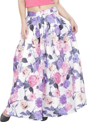 Svt Ada Collections Floral Print Women,s Regular White Skirt