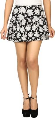 N-Gal Floral Print Women's A-line White, Black Skirt