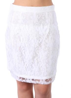 James Scot Solid Women's Straight White Skirt