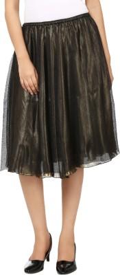 Tops and Tunics Solid Women's Regular Black, Gold Skirt
