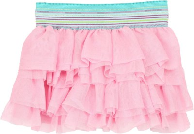 Eimoie Solid Girl's Layered Pink Skirt