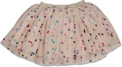 Crayon Flakes Printed Girl's Gathered Yellow, Pink, Orange Skirt