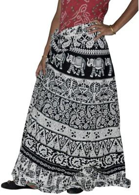 Ooltha Chashma Animal Print Women's Wrap Around Black, White Skirt