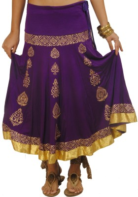 Ira Soleil Printed Women's Purple, Gold Skirt