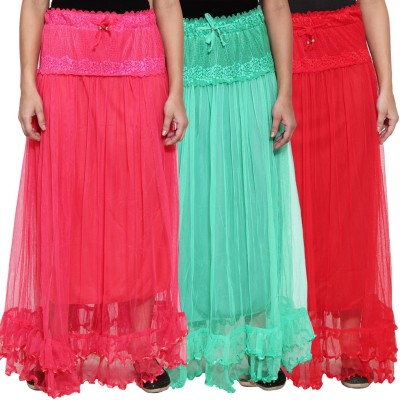 NumBrave Self Design Women's Layered Pink, Green, Red Skirt