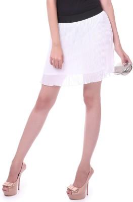 Sassafras Solid Women's Pleated White Skirt