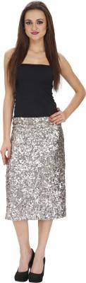 Ragdoll Embellished Women,s Pencil Silver Skirt