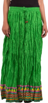 Tex Styles Solid Women's A-line Green Skirt