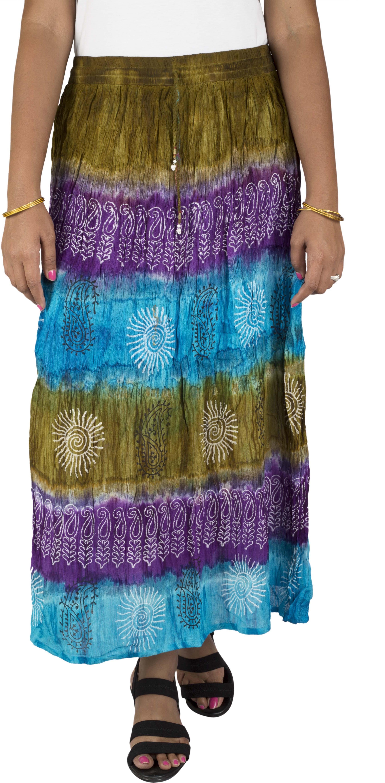 Yaari Self Design Womens Regular Multicolor Skirt