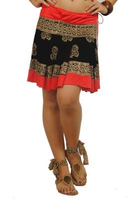 Ira Soleil Printed Women's Regular Black Skirt