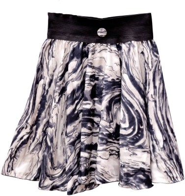 GraceDiva Printed Girl's Pleated Grey, Black Skirt