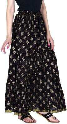 Ooltah Chashma Embellished Women's Tiered Black Skirt