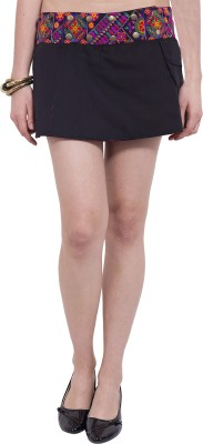 Tuntuk Embroidered Women's A-line Black Skirt