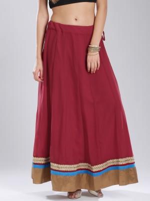 Anouk Solid Women's Gathered Maroon Skirt