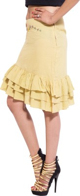 Kanika Creations Embroidered Women's A-line Yellow Skirt