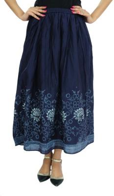 Goodwill Impex Printed Women's A-line Dark Blue Skirt