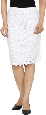 Oorja Self Design Women's Pencil White Skirt