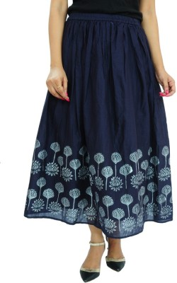 Goodwill Impex Printed Women's A-line Dark Blue Skirt