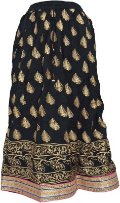Pms Fashions Floral Print Women's Regular Black Skirt