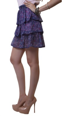 Belle Fille Floral Print Women's Tiered Purple Skirt