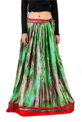Admyrin Printed Women's Wrap Around Green Skirt