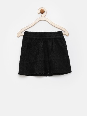 Yk Solid Girl's A-line Black Skirt