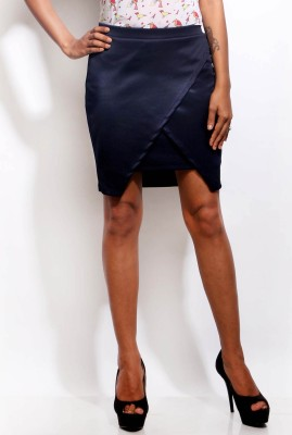 Change360? Solid Women's Asymetric Blue Skirt