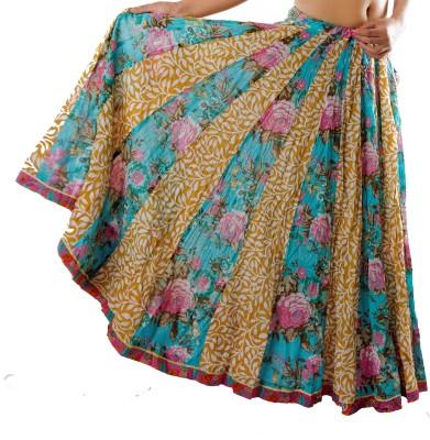 Chidiyadesigns Printed Women's Gathered Yellow, Blue Skirt