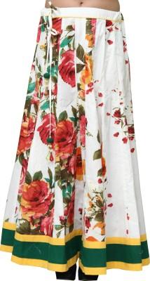 Chhipaprints Floral Print Women's Regular White Skirt