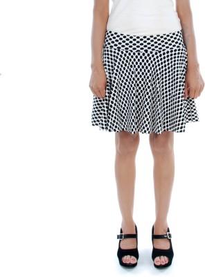 Prakum Printed Women's Pleated Black, White Skirt