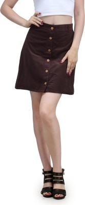 Eves Pret A Porter Solid Women's A-line Brown Skirt