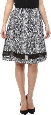COLOR COCKTAIL Printed Women's A-line Black Skirt