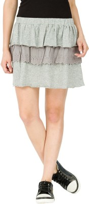 Alibi By Inmark Solid Women's Regular Grey Skirt