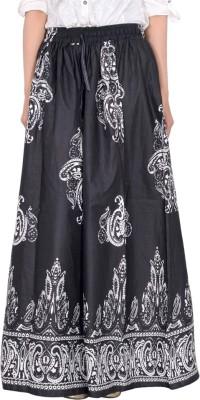 Bright & Shining Self Design Women's Regular Black Skirt