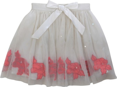 Teeny Tantrums Embroidered Girl's Layered White Skirt