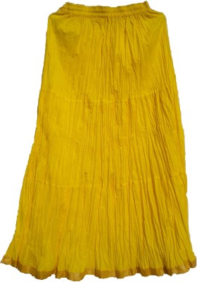 Chaklu Paklu Self Design Women's Regular Yellow Skirt