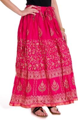 Ooltah Chashma Printed Women's Broomstick Pink Skirt
