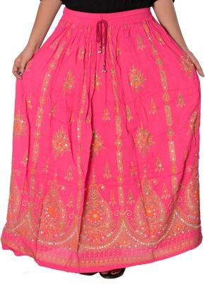 Fashionmandi Printed Women's A-line Pink Skirt