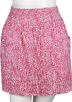 PMRETAIL Floral Print Women's Regular White Skirt