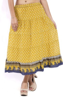 Goodwill Impex Printed Women's Tiered Yellow Skirt