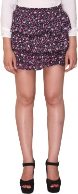 Bedazzle Floral Print Women's Tiered Black, Pink Skirt