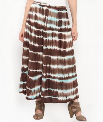 Philigree Striped Women's Straight Brown Skirt
