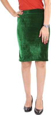 Gwyn Lingerie Solid Women's Straight Green Skirt