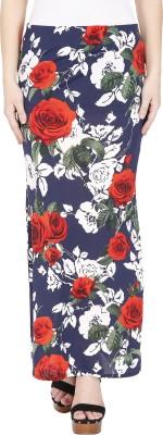 Franclo Floral Print Women's Pencil Dark Blue Skirt