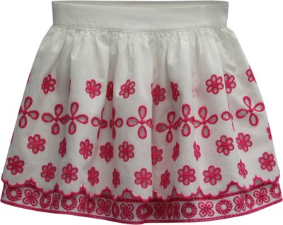 The Cranberry Club Self Design Girl's A-line Pink Skirt