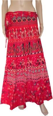Pinkcityvilla Printed Women's Wrap Around Red Skirt