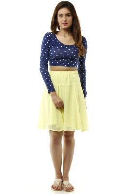 Lyla Solid Women's A-line Yellow Skirt