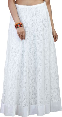 iihaa Self Design Women's A-line White Skirt