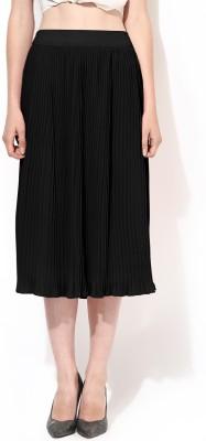 Besiva Solid Women's Wrap Around Black Skirt