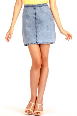 MIST ISLAND Solid Women's Straight Light Blue Skirt